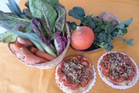 Ferme_Saint_Andre_Pizza aux pleurotes dans panier légumes